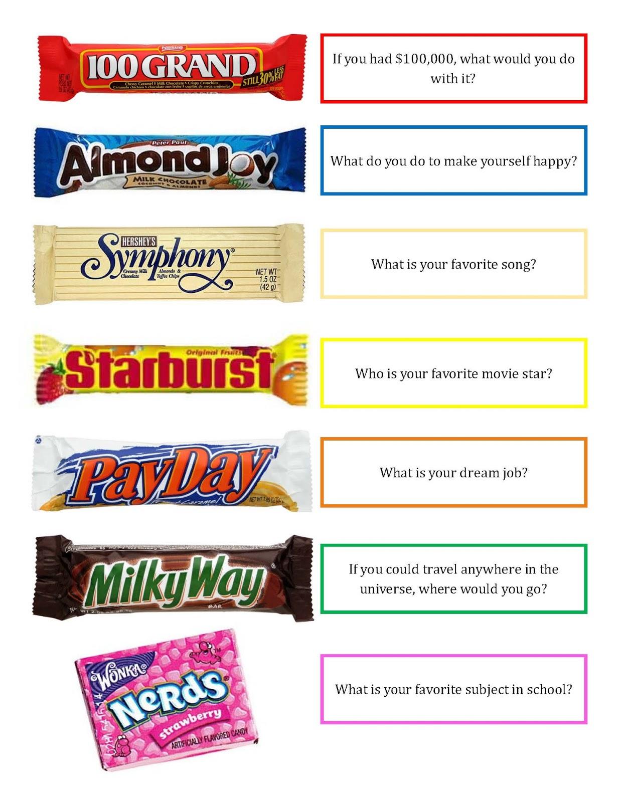Nifty image with candy bar game printable