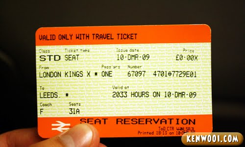 east cost train ticket