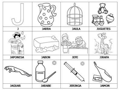Laminas con dibujos para aprender palabras y colorear con letra: J ...