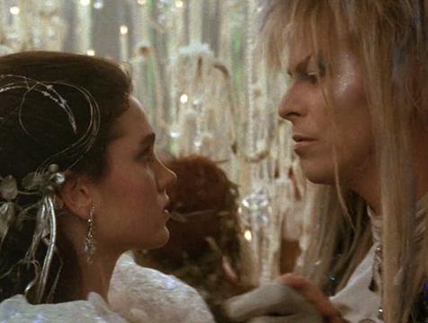 Sarah (Jennifer Connelly) y Jareth (David Bowie) en Dentro del laberinto - Cine de Escritor