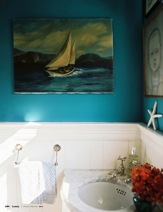 Moon to moon painting that bathroom for Aqua colored bathroom ideas