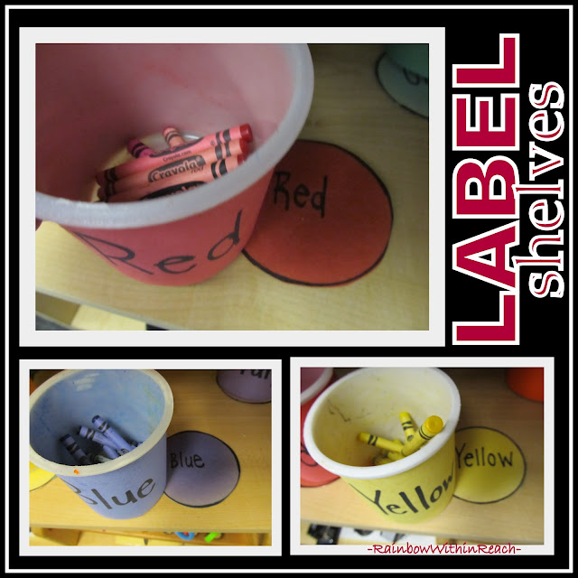 photo of: Art Center in Early Childhood with Shelves Labeled Visually to Foster Independence (Up-Cycled Crayon Containers)