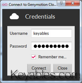 Genymotion Credentials Login