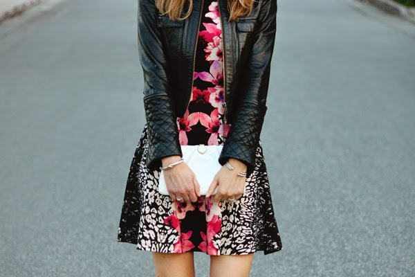 Floral dress + quilted moto jacket
