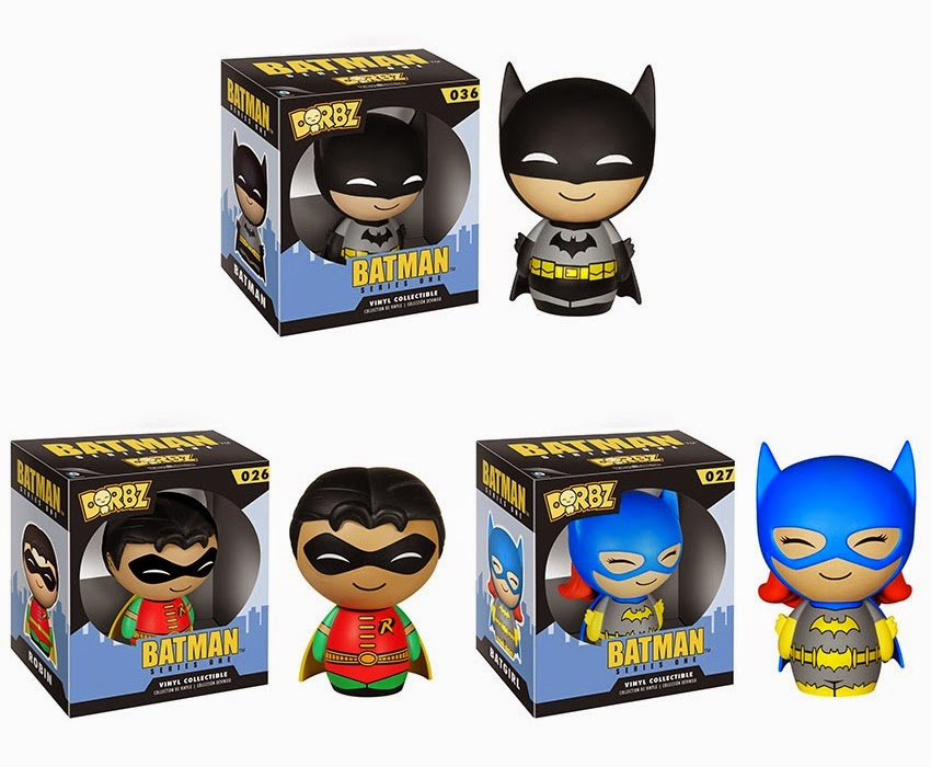 Batman Dorbz Vinyl Figures Series 1 by Funko - Black Suit Batman, Robin & Batgirl