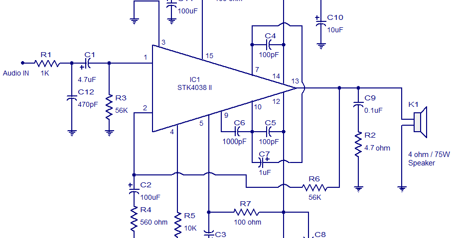 STK4038 60W Amplifier Circuit   audio    wiring       diagram