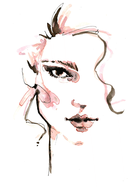 fashion illustration portrait watercolor ink actress Léa Seydoux - Alessia Landi