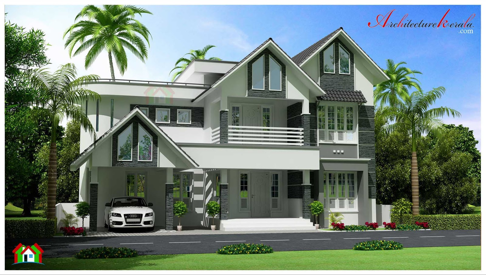 Four bedroom kerala house elevation architecture kerala for 4 bedroom kerala house plans and elevations