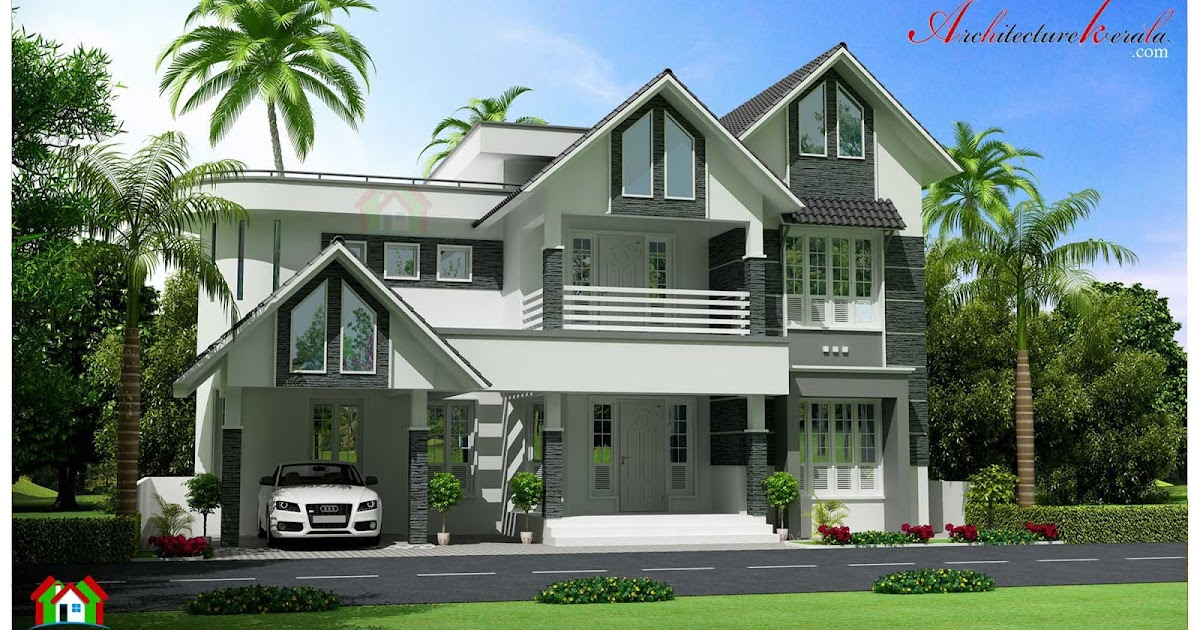 Four bedroom kerala house elevation architecture kerala for The space scape architects thrissur kerala