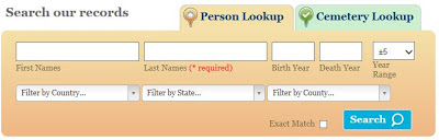 "Headed ""Search our records"" there are then fields for First name, Last name, Birth year,  Death year and some for Location - explained below."