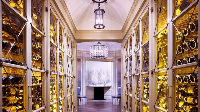 large white wine room gold accents