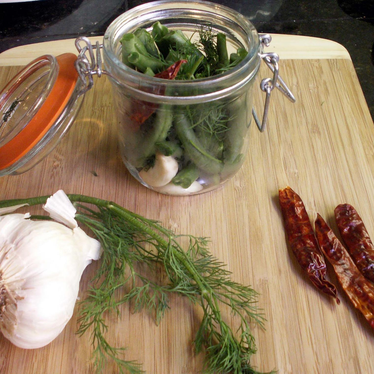 Spicy Pickled Green Beans Recipe — Dishmaps