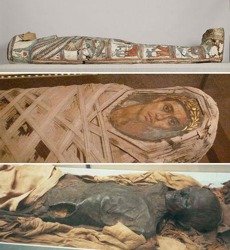 As múmias egípcias, são as mais conhecidas.
