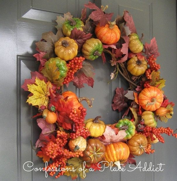 DIY pumpkin and fall leaves wreath