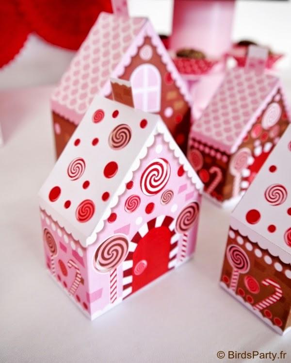 boites cadeaux printables aux format maison pain d'épice noel