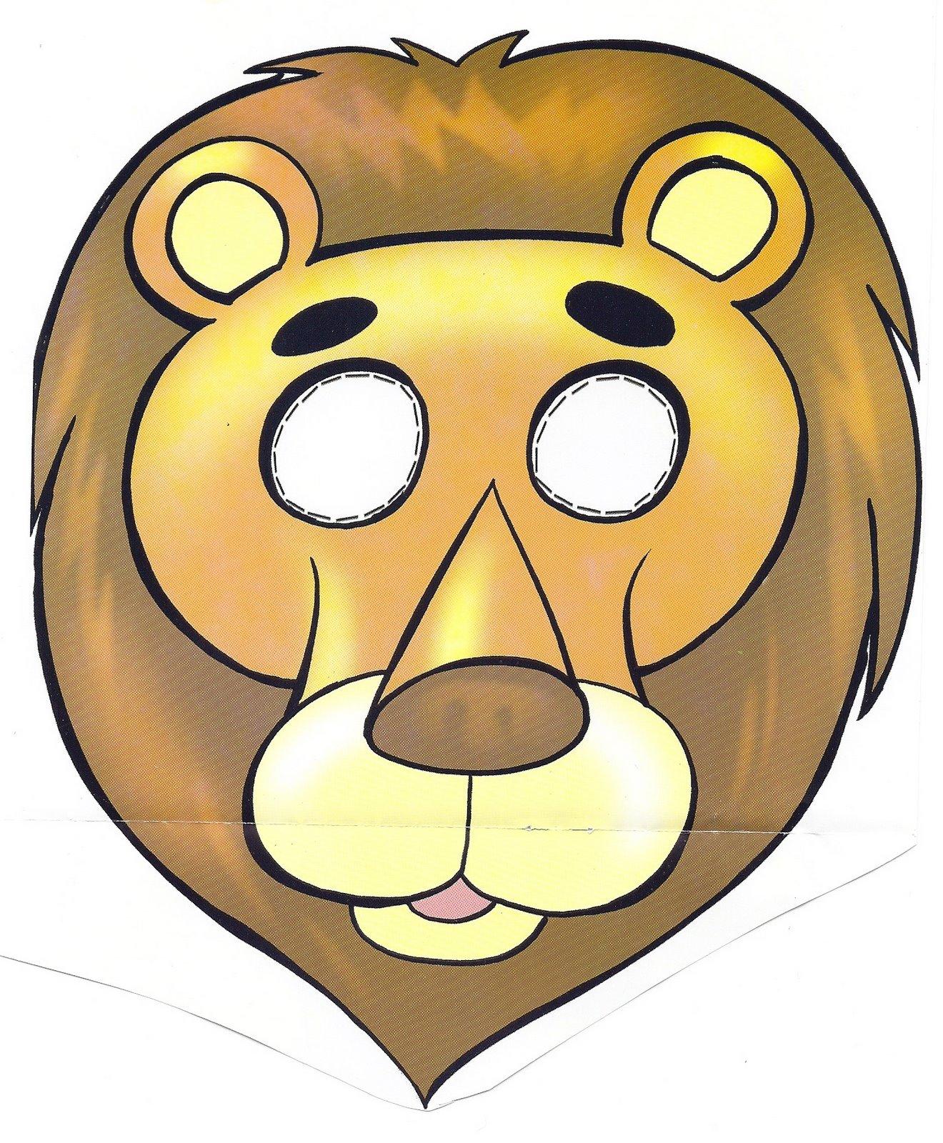 Máscara / careta de un león 3. Manualidades a Raudales.