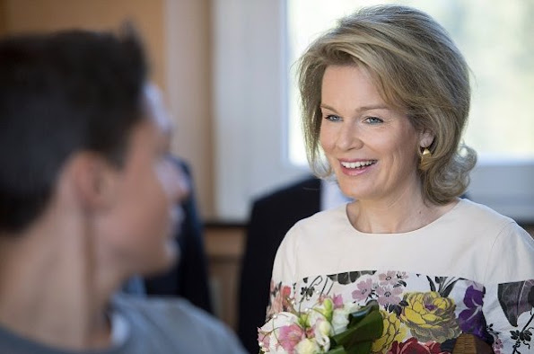 Queen Mathilde of Belgium visited the Sainte Marie de Bouillon institute