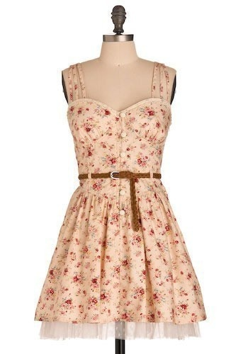 Sleeveless Peach Floral Print Dress