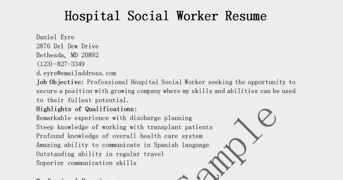 resume samples hospital social worker resume sample