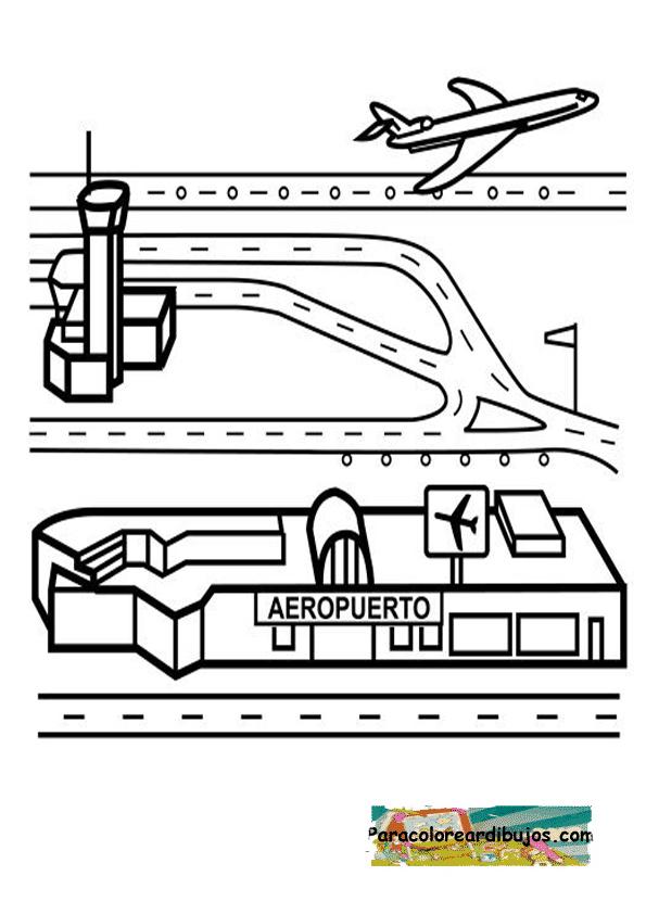 aeropuerto para colorear