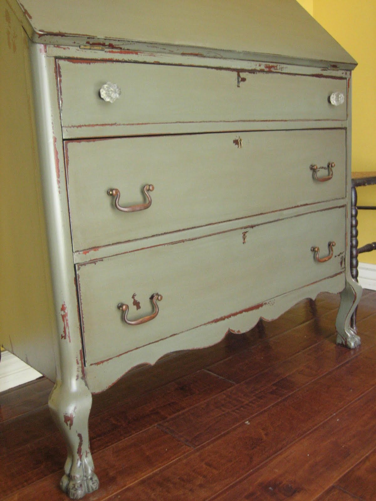 European Paint Finishes: Gray Green Dresser