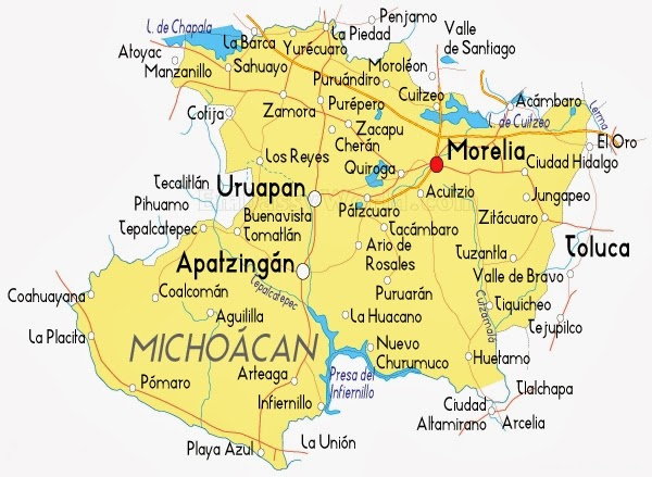 Map Of Michoacan State Mexico State Of Yucatan Mexico Map State - Michoacan mexico map