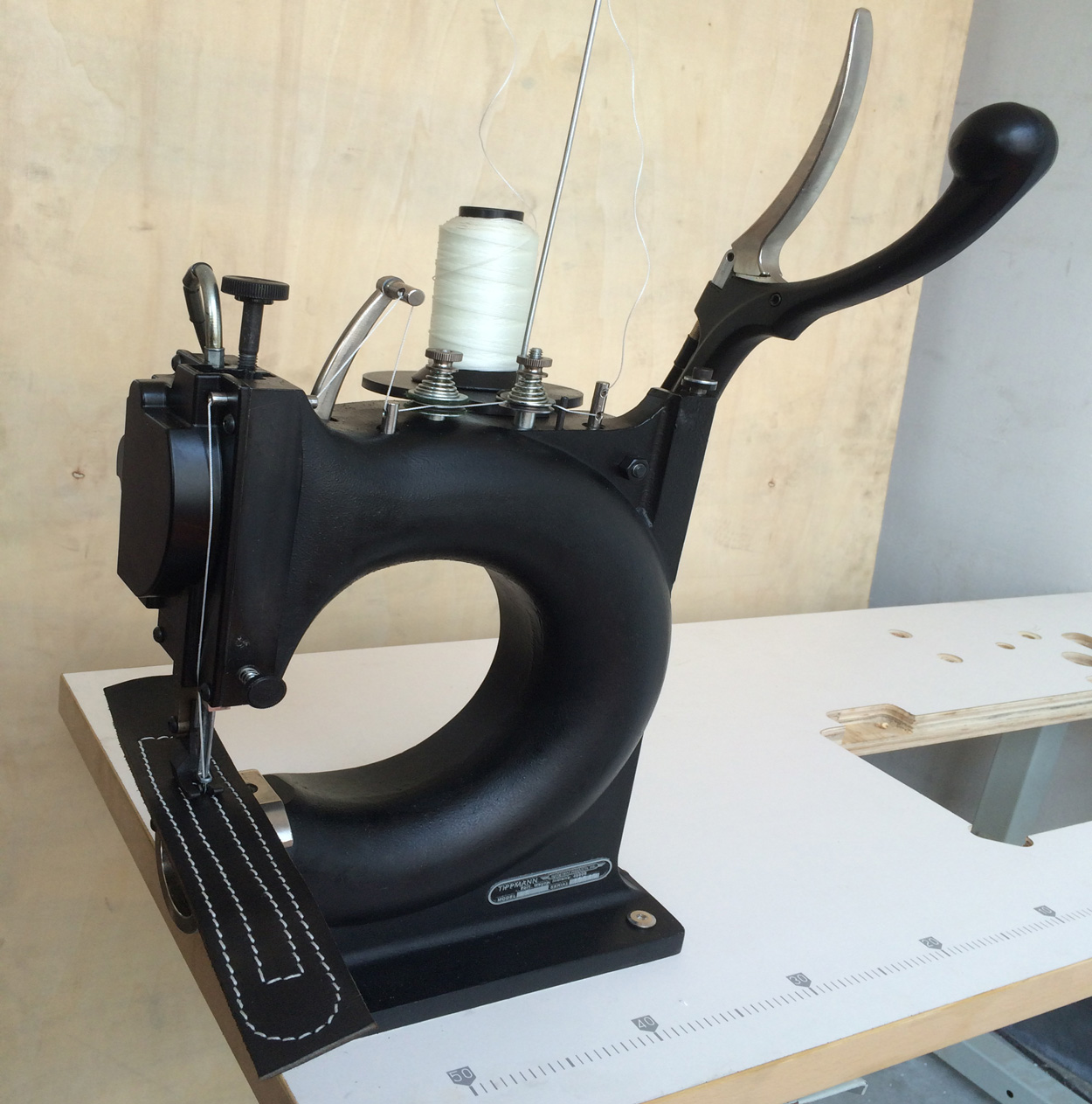 machine sewing leather