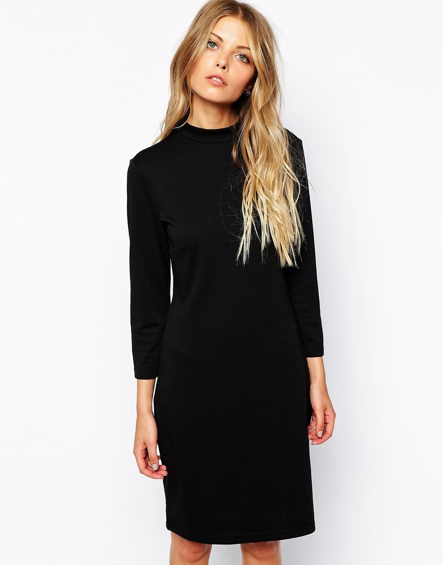 black midi dress high neck