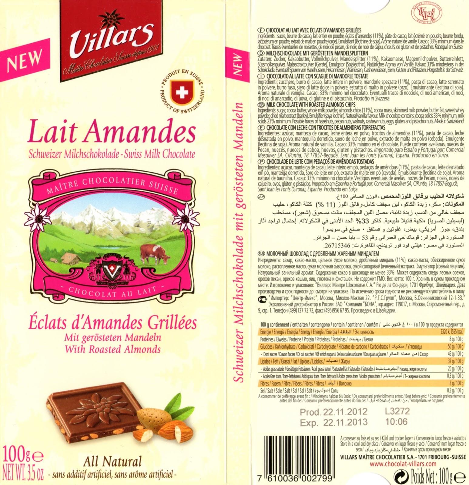 tablette de chocolat lait gourmand villars lait eclats d'amandes grillées