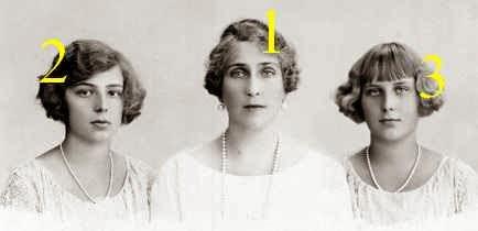 La reine Victoria Eugenia et les infantes Beatriz et Cristina d'Espagne