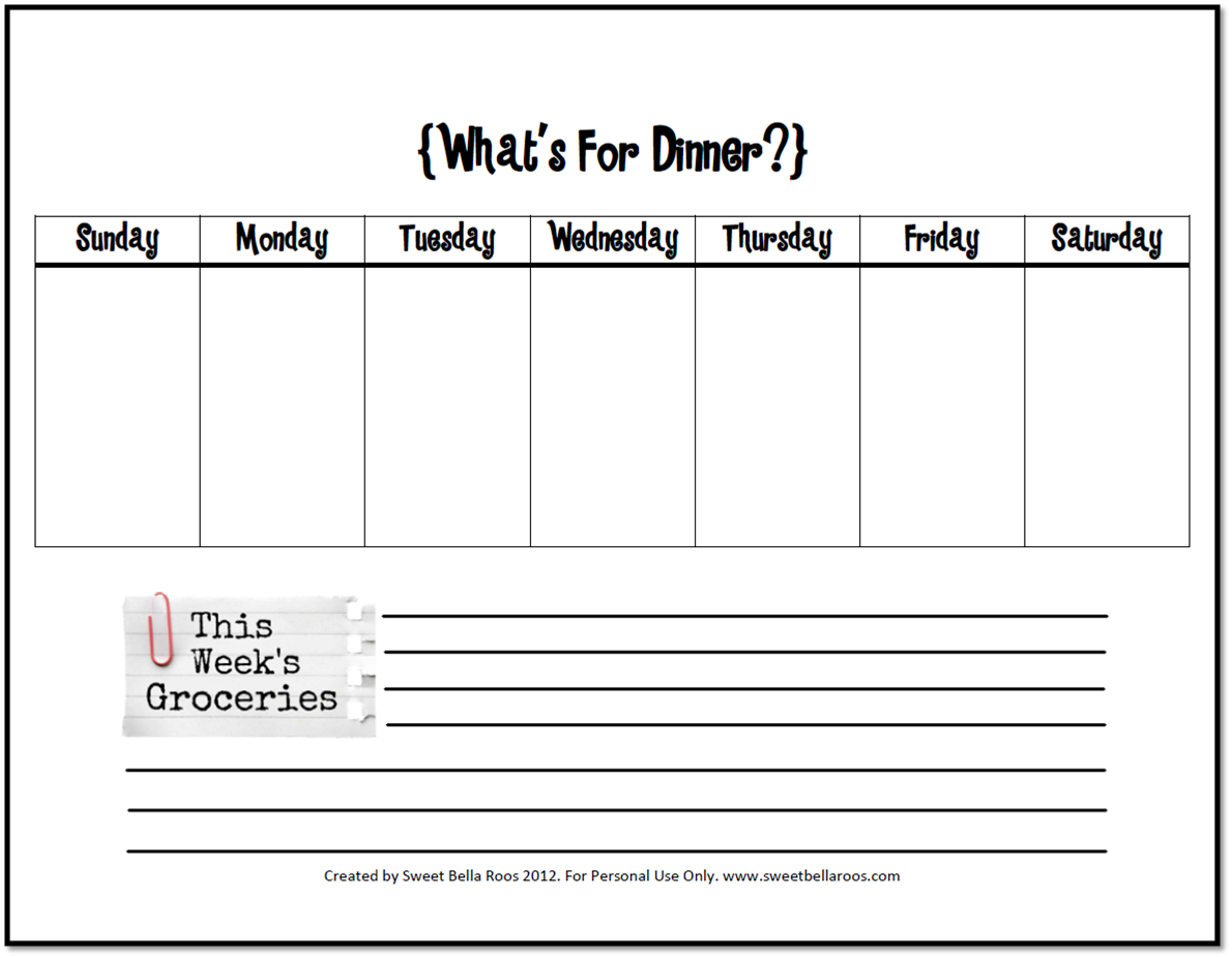Free Printable Menu Planner Template