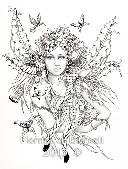 Advanced Coloring Pages Of Fairies : Fairy tangles may
