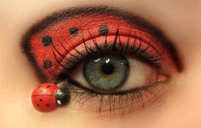 Cute Lady Bug Red and Black Eye Makeup