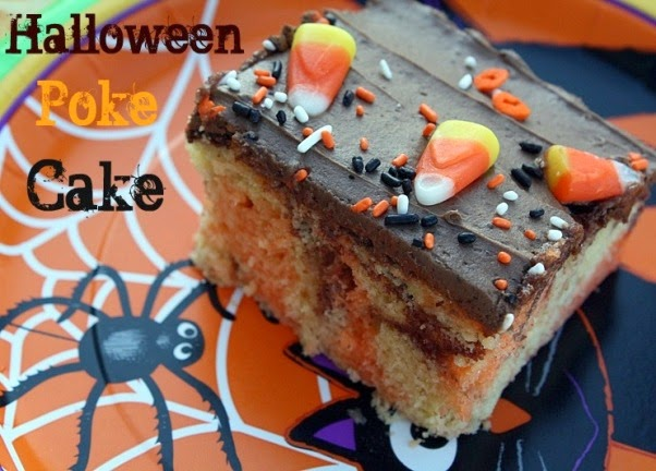Halloween Poke Cake: This is a marble cake infused with orange Jell-o ...