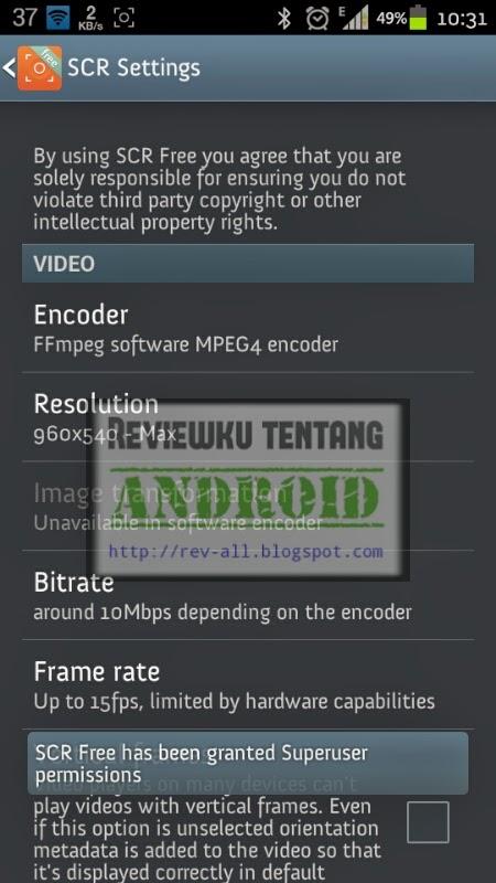 Pengaturan SCR free (screen recorder) - aplikasi android untuk merekam layar - rev-all.blogspot.com