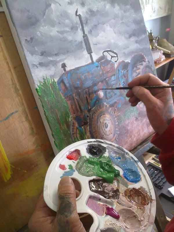 proceso de pintura de tractor