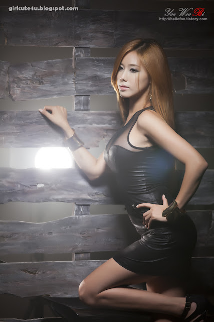 4 Kim Ha Yul-Leather Mini Dress-very cute asian girl-girlcute4u.blogspot.com
