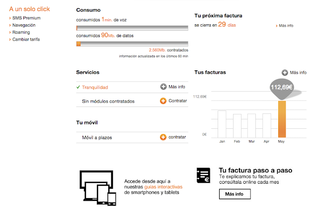Captura del portal de cliente de Orange