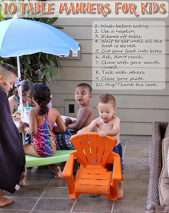 10 Table Manners For Kids- The Holidays Are Coming! (Little Tikes EasyStore Picnic Table and Lawn Chair featured)