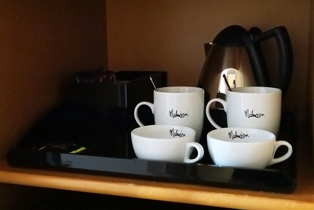 Tea and coffee making facilities at Malmaison Leeds