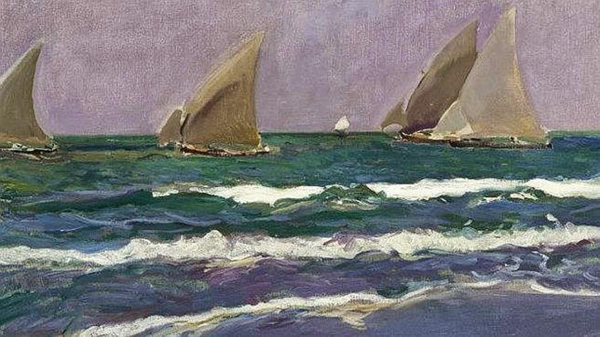 Velas en la Mar, Joaquín Sorolla Bastida, pintor español, Impresionismo Valenciano