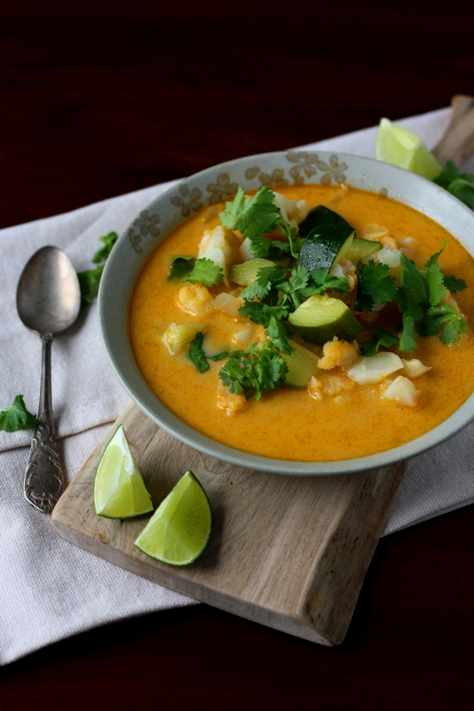 Red Curry Cauliflower And Zucchini Soup Recipe