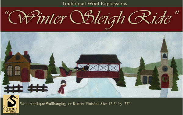 "Winter Sleigh Ride Wool Applique Wallhanging 13.5"" by 37"""