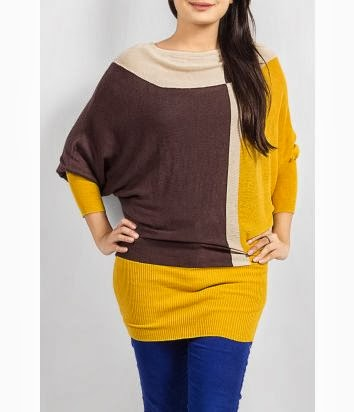 Brown And Yellow Color Sweater With Blue Jeans