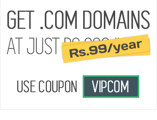 Get .com domains at just Rs 99/year