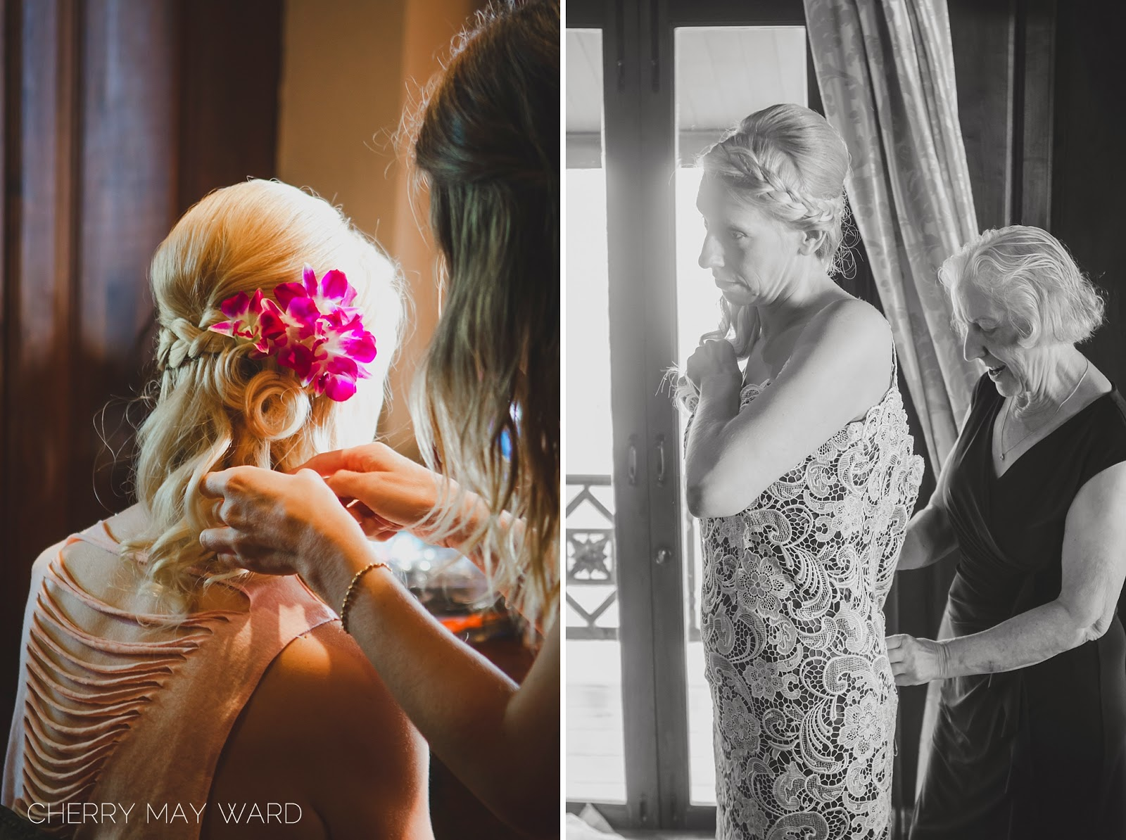 bride's hair and makeup Koh Samui, Koh Samui hair stylist, freelance wedding hair stylist, Thailand villa wedding, Koh Samui villa wedding vendors, bride getting ready, bride getting into dress