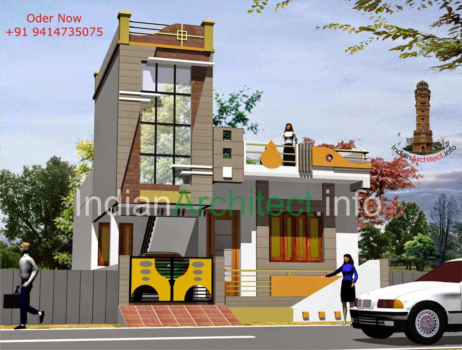 Mr changeriya ji house plan exterior design at neemuch for House front gallery design