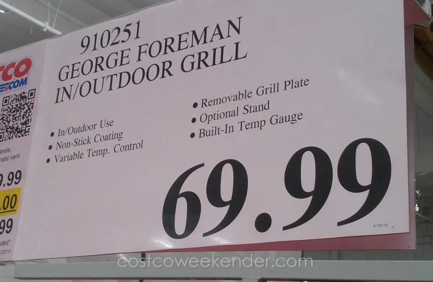 Deal For The George Foreman Indoor/Outdoor Electric Grill At Costco