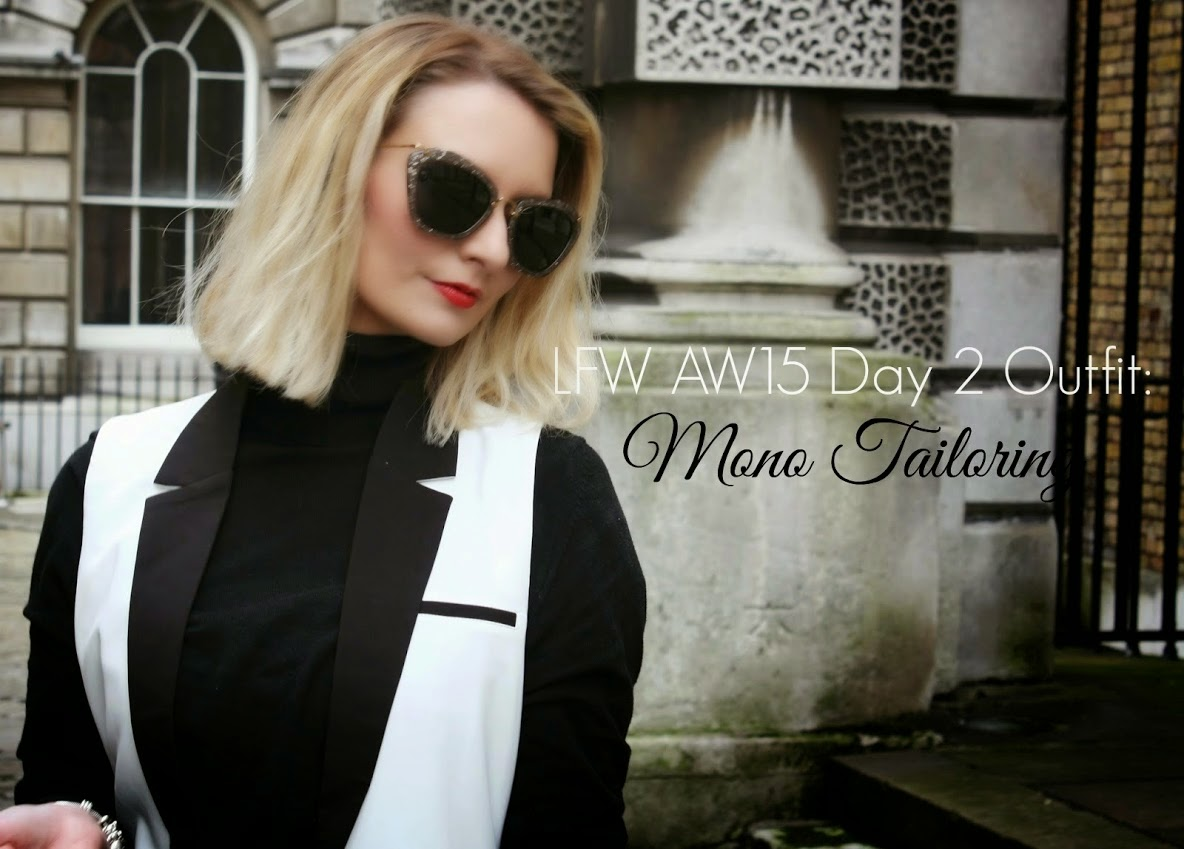 Mode Madeleine, outfit, OOTD, styling, monochrome, tailoring, London Fashion Week, Fashion Blogger, personal style, Red Hot Sunglasses, Miu Miu, Missguided
