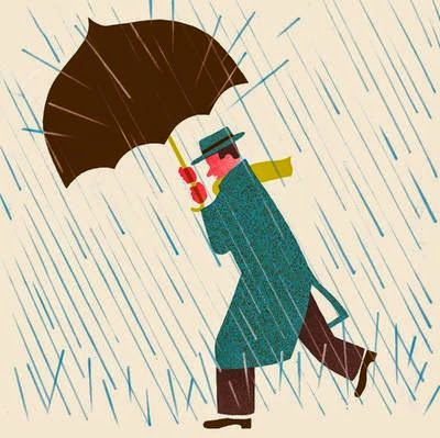 a man and his umbrella illustration by Blexbolex